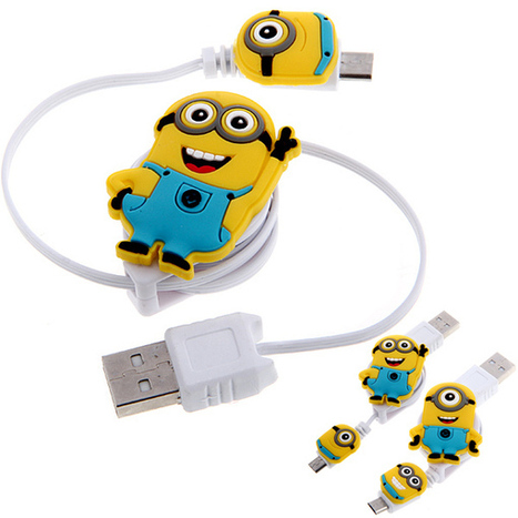 Despicable Me 2 Retractable Micro USB Sync Data Charging Cable for Samsung Cellphones | Find Despicable Me Products? | Scoop.it