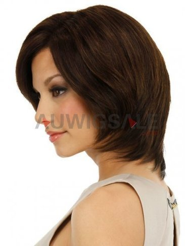 Cheap 12 Full Lace with Mono Cap Mid-Length Straight Brunette Human Hair Wigs With Side Bangs | Cheap Wigs Online Shopping at Auwigsale.com | Scoop.it
