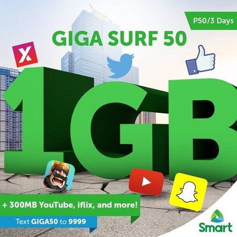 Smart GigaSurf50 offers 1GB of data + 300MB for YouTube, iFlix, and more | NoypiGeeks | Philippines' Technology News, Reviews, and How to's | Gadget Reviews | Scoop.it