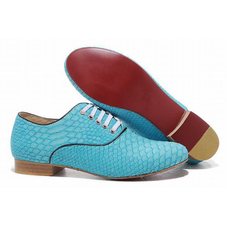 Red Bottom Christian Louboutin Alfredo Womens Flat Shoes Light Blue Python | popular collection | Scoop.it