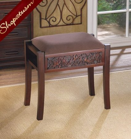 Dark Wood Brown Regent Carved Foot Vanity Stool | Friends Online Stores | Scoop.it