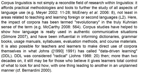 Corpus linguistics and data-driven learning: a critical overview: Boulton & Tyne 2013 | TELT | Scoop.it