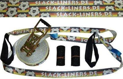 $@$   4 Teiliges Slackline-Set – 50mm breit, 20m lang – EM / WM Deutschland Fussball – Langhebelratsche! *NEU* | Slackline Online Kaufen | Scoop.it