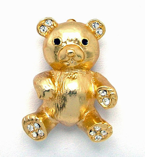 Vintage Teddy Bear Brooch Gold Tone With Rhinestone Paws And Ears With Enamel Eyes | Beautiful Bargain Vintage Costume Jewelry | Scoop.it