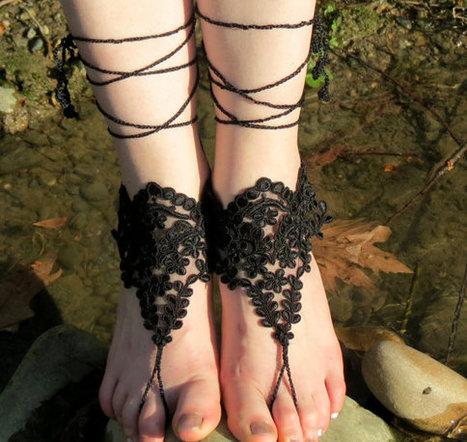 Lace sandals, beach shoes, bridal sandals, wedding bridal, barefoot sandles, Black accessories, wedding shoes, Black Wedding | fashion | Scoop.it