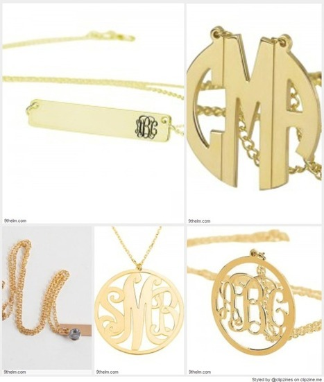 Gold Monogram Jewelry   Sterling Silver Monogram Necklace   9thelm   Fashionista   Scoop.it