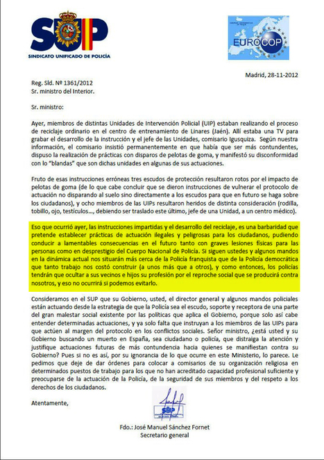 El SUP denuncia que Interior adiestra a los antidisturbios para provocar lesiones   Lola Tiger   Scoop.it