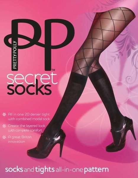 2 in 1 - panty met ruitjespatroon en met kniekousen Secret Socks van Pretty Polly swart, maat M/L   pantys-boutique.nl   Pantys Kousen   Scoop.it