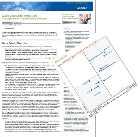 Gartner Magic Quadrant for Master Data Management of Customer Data Solutions | Data Governance and MDM | Scoop.it