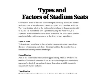 Types and Factors of Stadium Seats | Evertaut Limited | Scoop.it