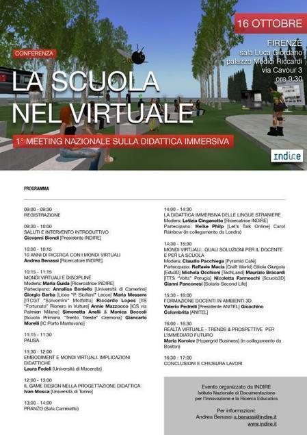 Il 1° Meeting nazionale sulla didattica immersiva – Firenze, 16 ottobre 2015 | | VirtualWorlds-in-Education | Scoop.it