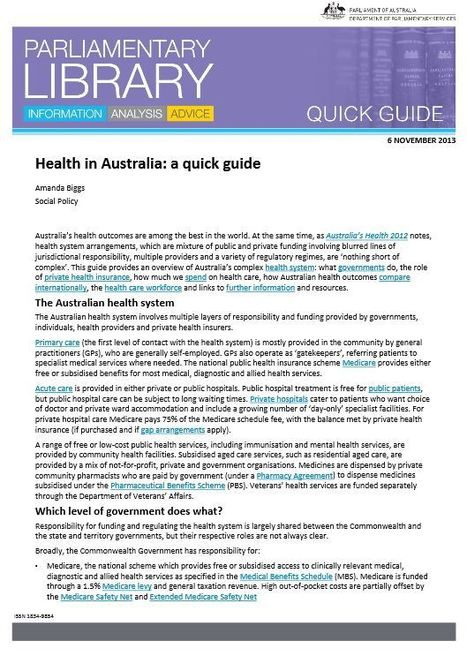 Health in Australia: a quick guide | Health in a digital age | Scoop.it