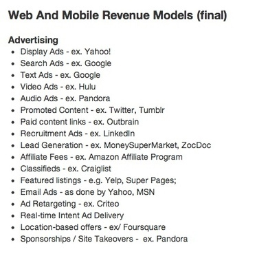 A VC: MBA Mondays: Revenue Models - Advertising | Startups @MagicalStartups | Scoop.it