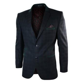 Mens Slim Navy Herringbone Green Check Vintage Wool Blazer Jacket | Mens clothing | Scoop.it