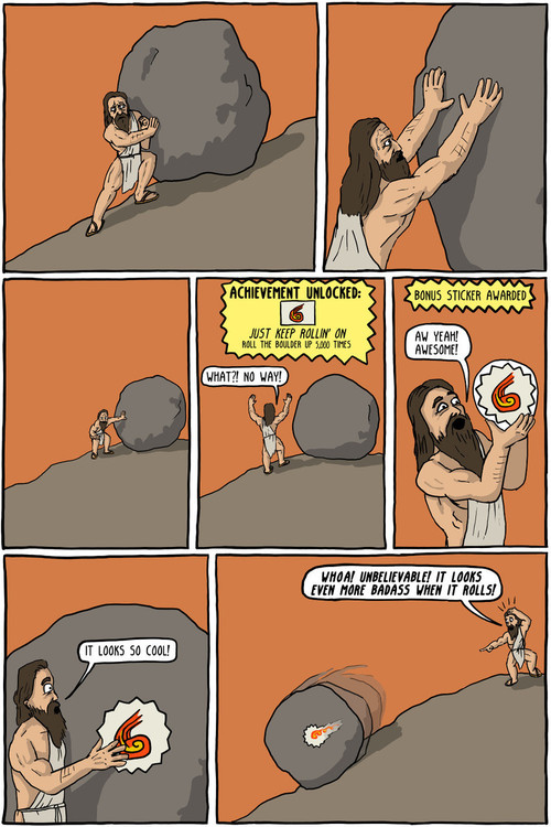 We Must Imagine Sisyphus Happy - Existential Comics