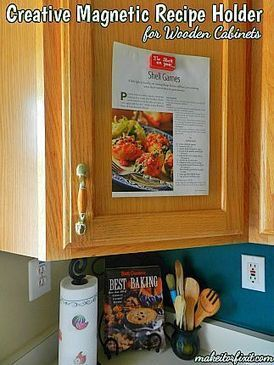 Creative Magnetic Recipe Holder for Wooden Cabinets | Crafts and DIY | Scoop.it