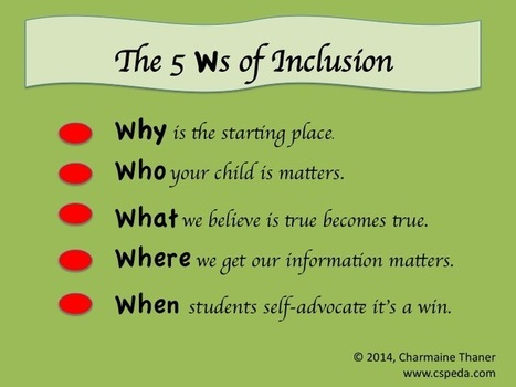 5 Ws of Inclusion | Beyond Special Education | Scoop.it