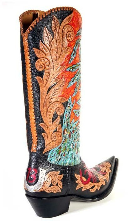 New Hand Painted Black Leather Dan Post Cowboy Boots 7 Women39s 1OFAKIND