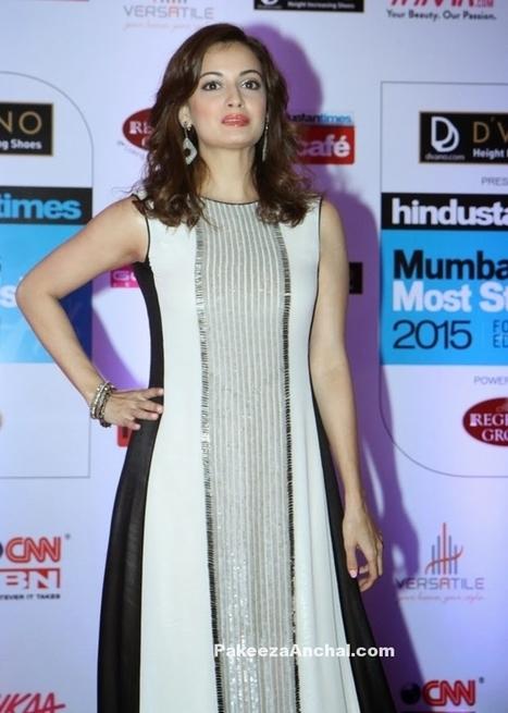 Dia Mirza in Shiny Sleeveless Maxi Dress by Rohit Gandhi & Rahul Khanna | Indian Fashion Updates | Scoop.it