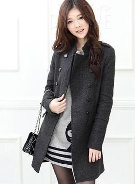 Black/Gray Distinctive  Double-breasted Long Sleeves Woolen Overcoat | fashion clothes | Scoop.it