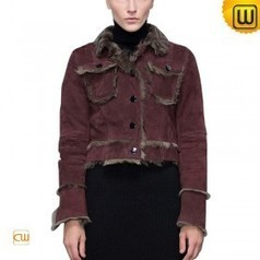 Women Vintage Cropped Shearling Jacket CW614081 | Fur Trimmed Coats | Scoop.it
