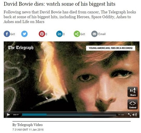 Curation is the new obituary: 8 ways media outlets marked Bowie's life and death [now 12] | Documentación en medios de comunicación | Scoop.it