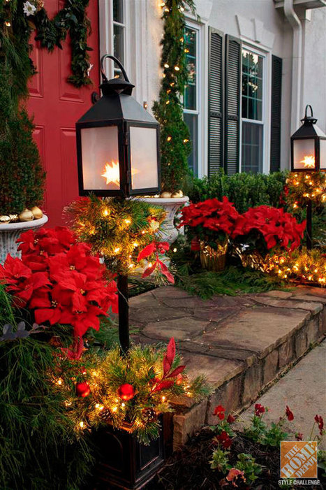 Holiday Door Decorating Ideas for Your Small Porch - The Home Depot | Christmas Decorations | Scoop.it