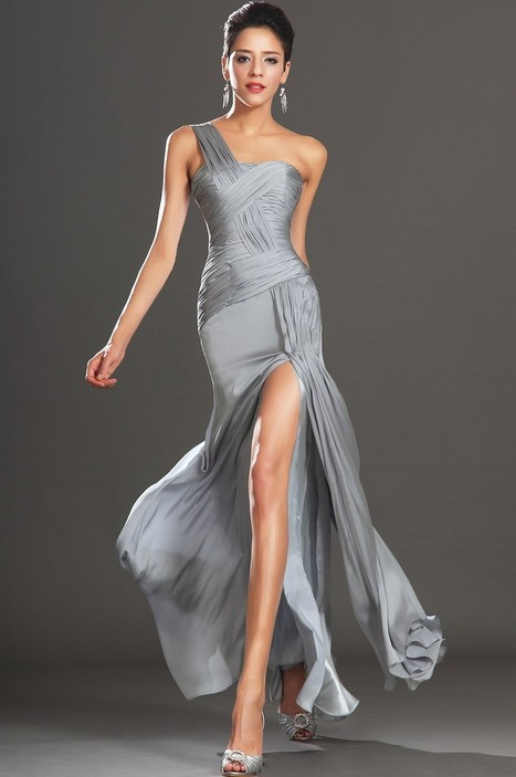 Silver One Shoulder Floor Length Chiffon Sheath Column Evening Dress With Pleating Oet0058   Alizee's Fashion World   Scoop.it