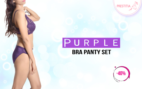 Prestitia - Purple Bra Panty Set | Shopping Online in india padded Bra and panty | Scoop.it
