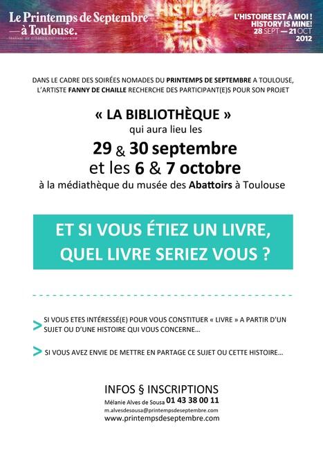 Et si vous étiez un livre, quel livre seriez vous? [Printemps de Septembre 2012, Toulouse] | bibliotheques, de l'air | Scoop.it