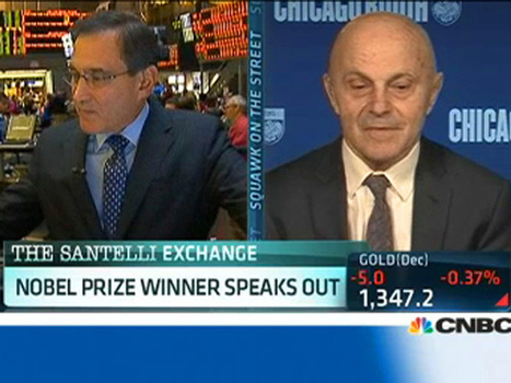 """NOBEL PRIZE WINNER FAMA TO CNBC'S SANTELLI: 'There's So Much Confusion In What You Said It's Difficult To Answer' 