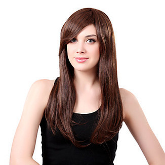 Capless Long Synthetic Brown Straight Hair Wig Side Bang – WigSuperDeal.com | African American Wigs | Scoop.it