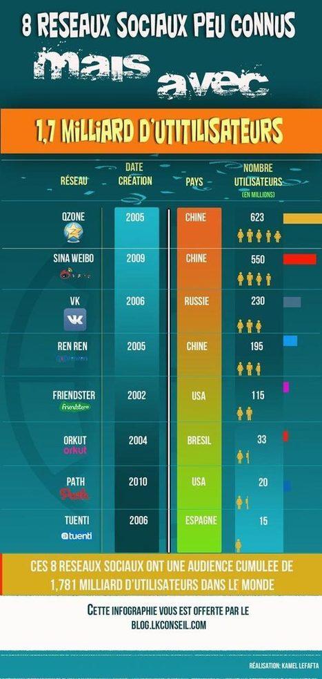 [Infographie] 8 Réseaux sociaux peu connus mais qui cumulent 1,7 milliard d'utilisateurs | Social Media | Scoop.it