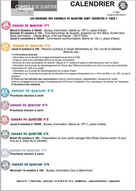 Mairie de Paris XIIIème: Agenda n°362 des CONSEILS de QUARTIER. | actions de concertation citoyenne | Scoop.it