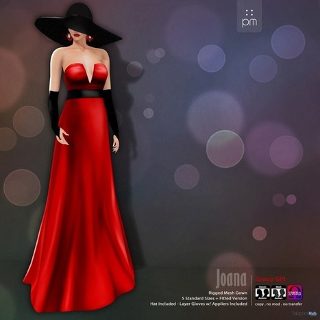 Red Joana Gown Group Gift by PurpleMoon | Teleport Hub - Second Life Freebies | Second Life Freebies | Scoop.it