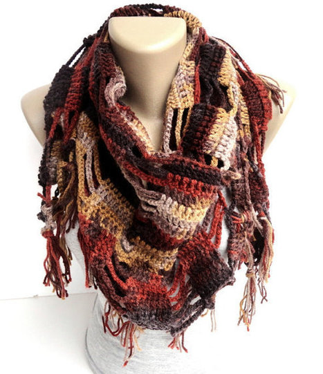 fall color scarf ,shawl ,neckwarmer ,women scarves ,crocheted shawl scarf ,gift ideas | scarf | Scoop.it