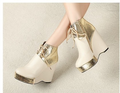 Wholesale Fashion women ankle boots metal wedge heel shoes SY-C1747 golden - Lovely Fashion | fashion chic styles(peep toe,pumps) | Scoop.it