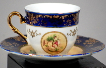 GNA Fine Porcelain Cobalt Teacup And Saucer Watteau Scene | Vintage Passion | Scoop.it