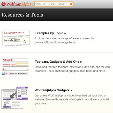 Wolfram|Alpha: Resources & Tools | Apps and Widgets for any use, mostly for education and FREE | Scoop.it