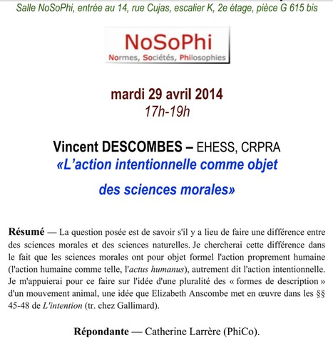 "Conférence de Vincent Descombes : ""L'action intentionnelle comme objet des sciences morales"", le 29 avril 2014 