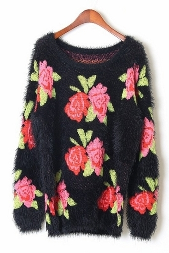 Rose Graphic Sweater - OASAP.com | Sweaters and Cardigans | Scoop.it