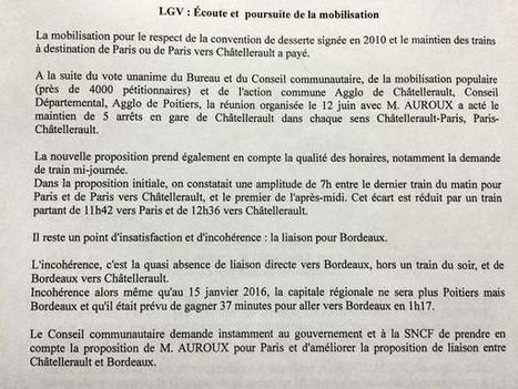 Vœu de la #CAPC sur la desserte #LGV en gare de #Châtellerault @jpabelin | Chatellerault, secouez-moi, secouez-moi! | Scoop.it