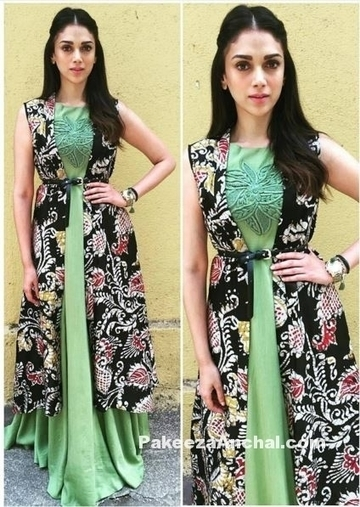 Aditi Rao Hydari in Green Sleeveless Long Dress with Long Printed Jacket | Indian Fashion Updates | Scoop.it