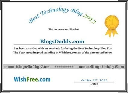 Certificate For Winning 'Tech Blog Award 2012' - Blogs Daddy | Blogger Tricks, Blog Templates, Widgets | Scoop.it