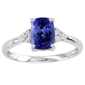 1.1ct Cushion Tanzanite Ring With .09ctw Diamonds in 14k White Gold | Tanzanite Rings | Scoop.it