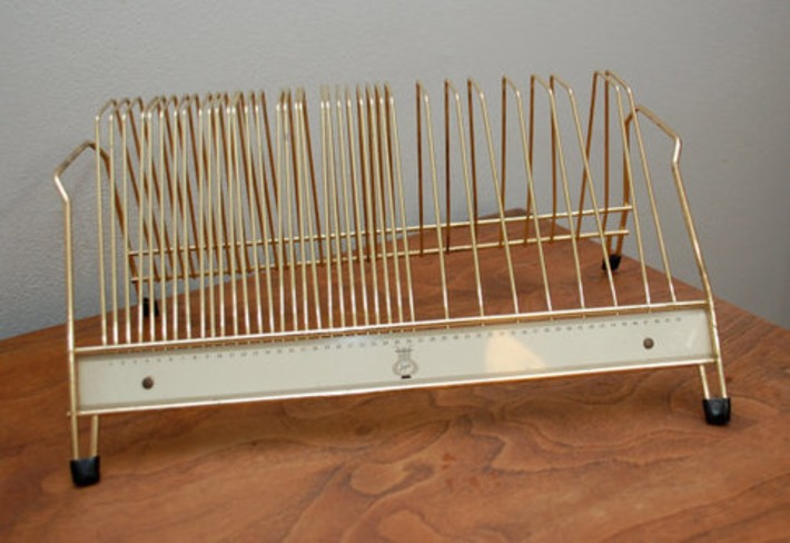 Vintage RECORD RACK Metal 1950's tabletop by ilovevintagestuff | Antiques & Vintage Collectibles | Scoop.it