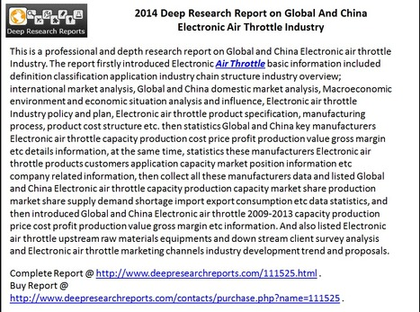 Global and China Electronic Air Throttle Market 2014 – Competition, Opportunities & Threats | Deep Market Analysis | Scoop.it