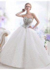 Ball Gown Strapless Chapel Train Tulle Ivory Wedding Dress Lbldb12153 for $873 | men's fashion | Scoop.it