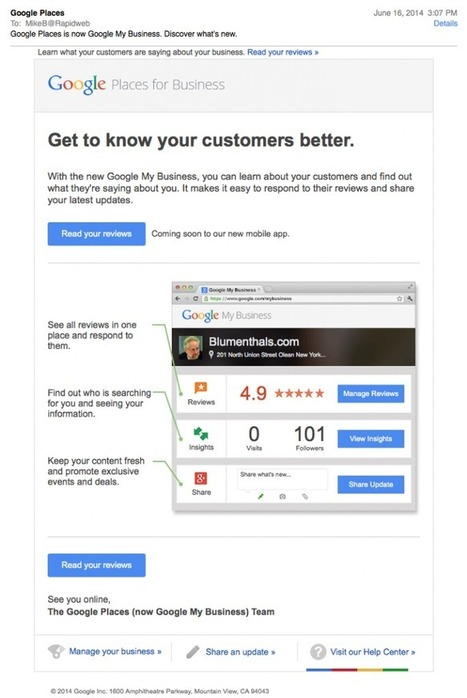 Google Starts Promoting My Business With Personalized Direct Email & Hangout | Google Maps Marketing | Scoop.it