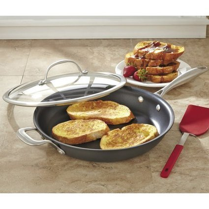 """Customer Reviews CHEFS Hard Anodized Fry Pan with Lid, 12"""" 